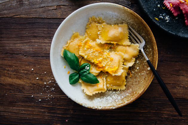 Beet, Butternut Squash, and Spinach Ravioli