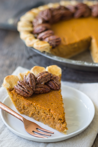 Pumpkin Pie with Candied Pecan Topping