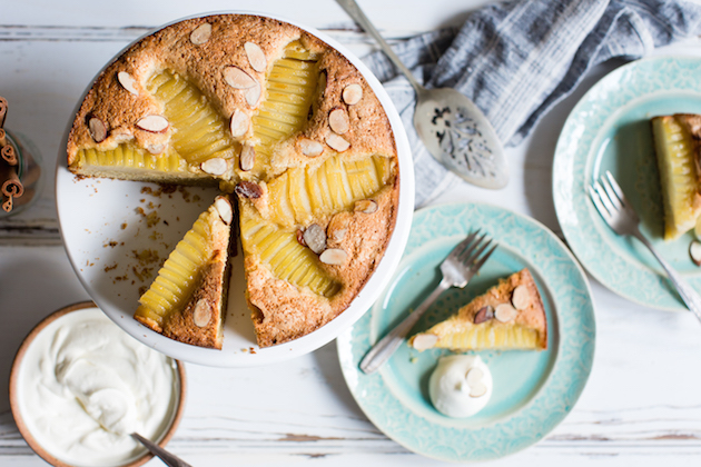 Gluten-­Free Almond Oat Pear Cake with Almond Chantilly