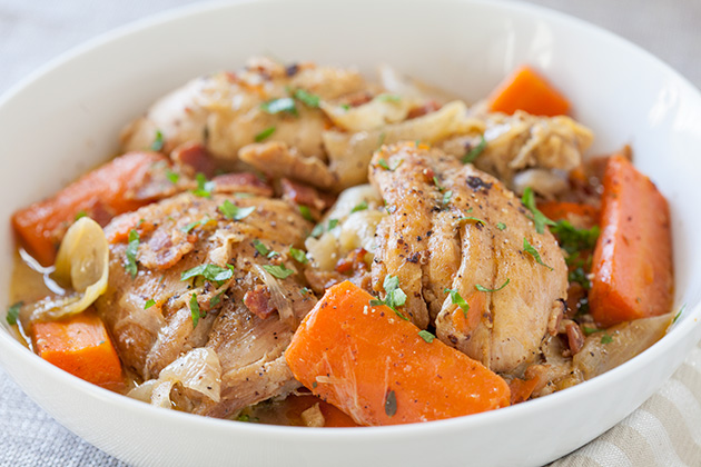 Wine-Braised Chicken with Bacon, Veggies and Herbs - The ...
