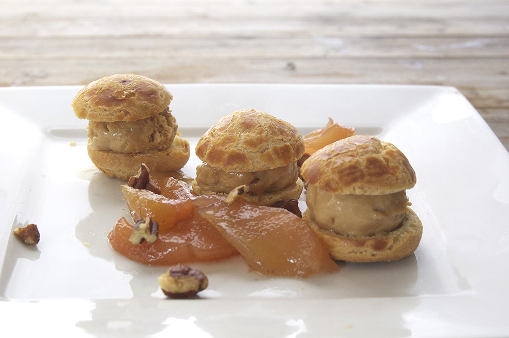 Profiteroles with Salted Caramel Ice Cream & Poached Spiced Pears