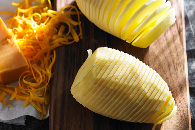 Hasselbacks with Cheddar Cheese Recipe