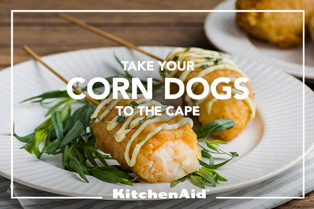 Lobster Corndogs with Lemon Tarragon Aioli