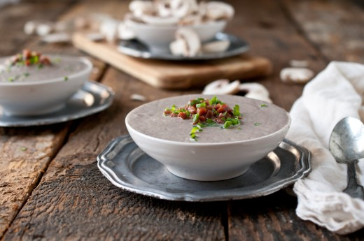 Creamy Mushroom Stout Soup with Crispy Pancetta - The Kitchenthusiast