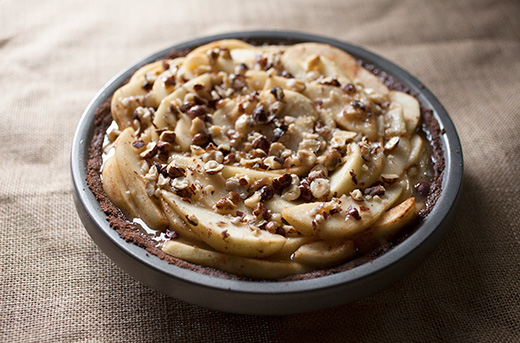 Pear and Hazelnut Salted Caramel Pie with Chocolate Graham Crust Recipe