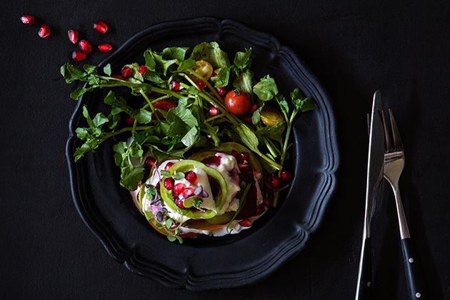 Warm Tomato and Beet Salad with Burrata