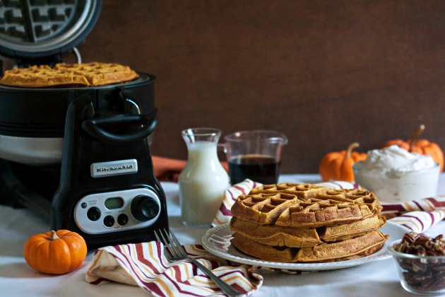 Pumpkin Spice Waffles with Maple Whipped Cream