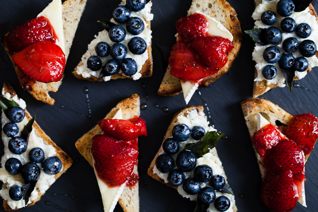Berry, Herb, & Cheese Toasts – Two Ways