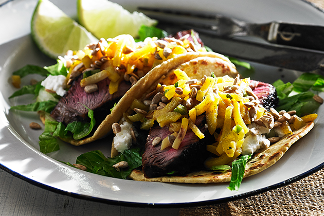SIRLOIN TACOS WITH BEET SALSA - The Kitchenthusiast