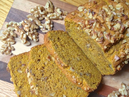 Sliced Whole Wheat Pumpkin Walnut Bread