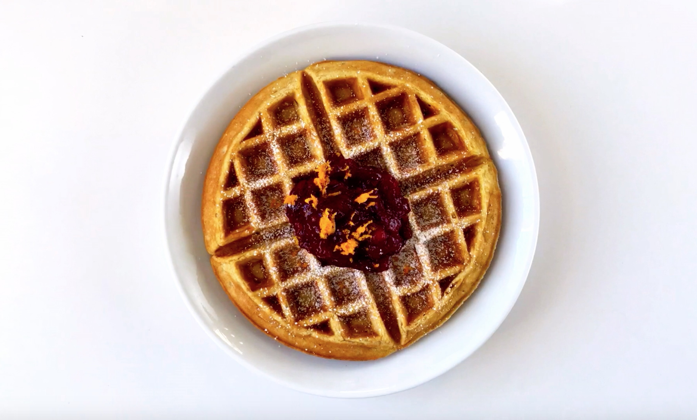 Taste of KitchenAid Eggnog Waffle Cranberry Compote