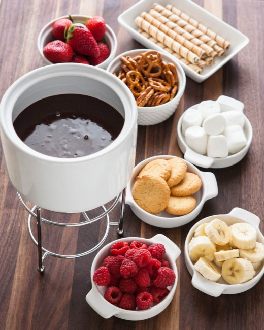For our chocolate fondue, I just melt some chocolate in heavy cream ...
