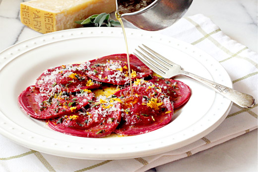 Beet Ravioli with Meyer Lemon Goat Cheese Recipe